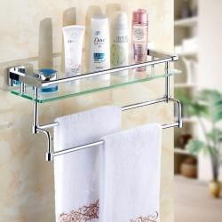 Стеклянная полка в ванную навесная