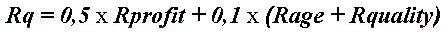 Формула расчета составляющей службы качества